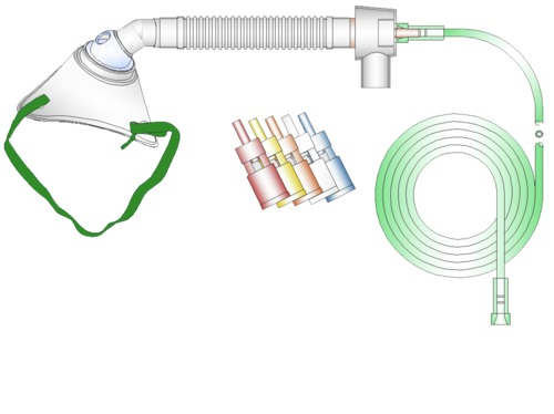Venturi Tracheotomy Oxygen Mask with Tubing