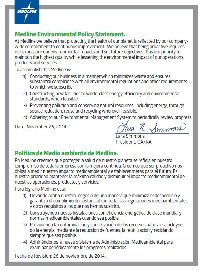 Medline Environmental Policy Statement.